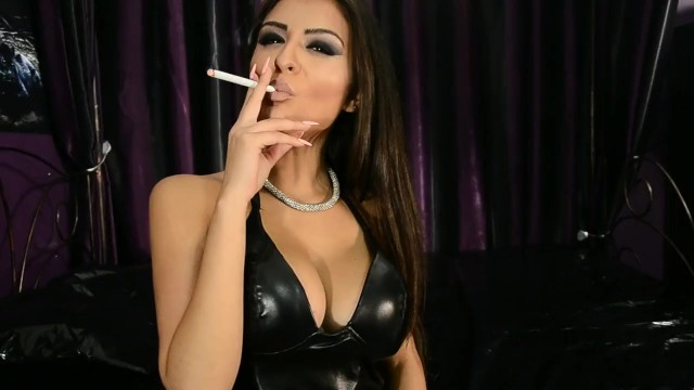Sexy Latex Hottie Smoking