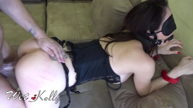 Surprising WetKelly Blindfolded. Rough Sex, Whipping, Ball Gag and Cuffs
